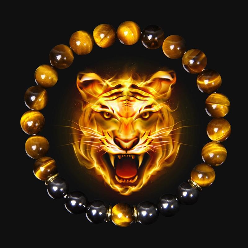 High Quality Natural Stone Tiger Eye Beads Charm Bracelet 8mm Hematite Beaded  Yoga Energy Bracelet for Women Men Jewelry Gifts