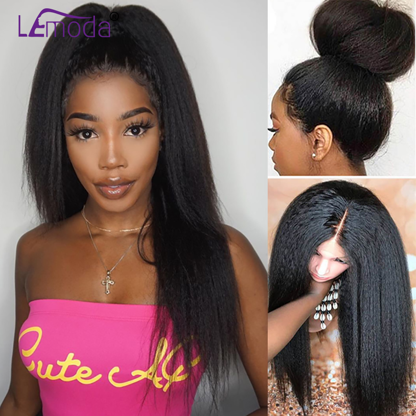 Kinky Straight Wig Human Hair Malaysian 13x4 Half Lace Front Wig Pre Plucked Remy Hair Lemoda