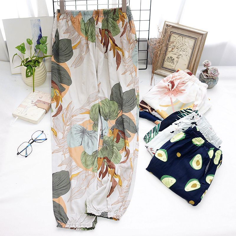 Cotton Trousers Thin Section Loose Breathable Women Long Pants Anti-mosquito Can Be Wear Outside Floral Printed Women Home Pants
