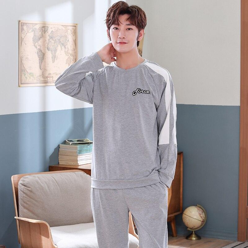 Spring Pure Cotton Pajama Sets Male Sleepwear Long Sleeve Pajamas Pijama Hombre Plus Size L-4XL Pyjamas Men Pajamas Homewear