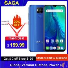 Ulefone Power 6 6350Mah Android 9.0 Helio P35 Octa Core Mobiele Telefoon 4Gb Ram 64Gb Rom 6.3 ''Gezicht Id Nfc 4G Smartphone