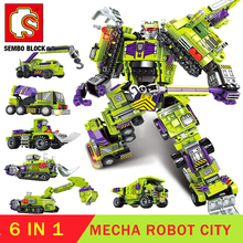 6in1 Toy Transformation Robot CITY Technic Building Block Robots Action Figure Brick for Boys Birthday Gift SEMBO Constructor