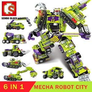 Image 1 - 6in1 brinquedo transformação robô cidade técnica blocos de construção robôs figura ação tijolo para meninos presente aniversário sembo construtor
