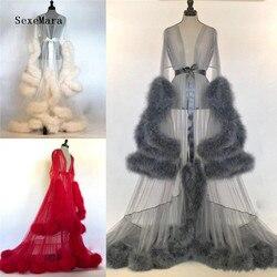 Frauen Winter Sexy Faux Pelz Dame Nachtwäsche Frauen Bademantel Sheer Nachthemd Rot Weiß Grau Robe Prom Brautjungfer Schal
