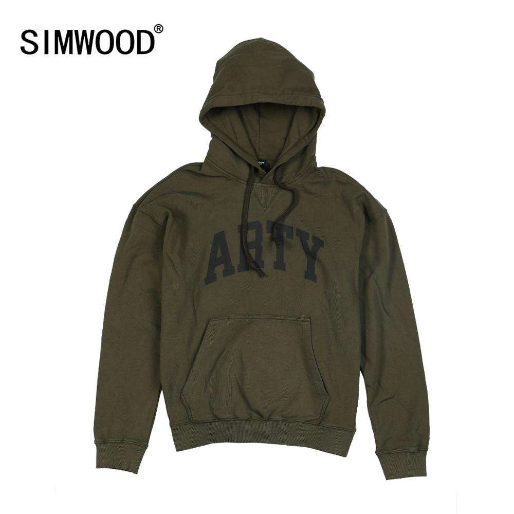 SIMWOOD 2019 Autumn Winter New Hooded Hoodies High Quality Letter Print Sweatshirts Men 100% Cotton Vintage Clothes 190378