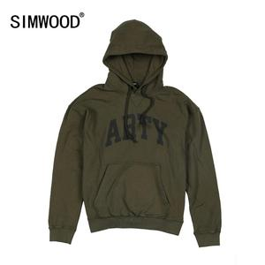 Image 1 - SIMWOOD 2020 spring winter new hooded hoodies high quality letter print sweatshirts men 100% cotton vintage clothes 190378