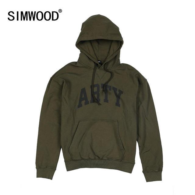 Simwood 2020 primavera inverno novo com capuz hoodies de alta qualidade carta impressão camisolas dos homens 100% algodão roupas vintage 190378
