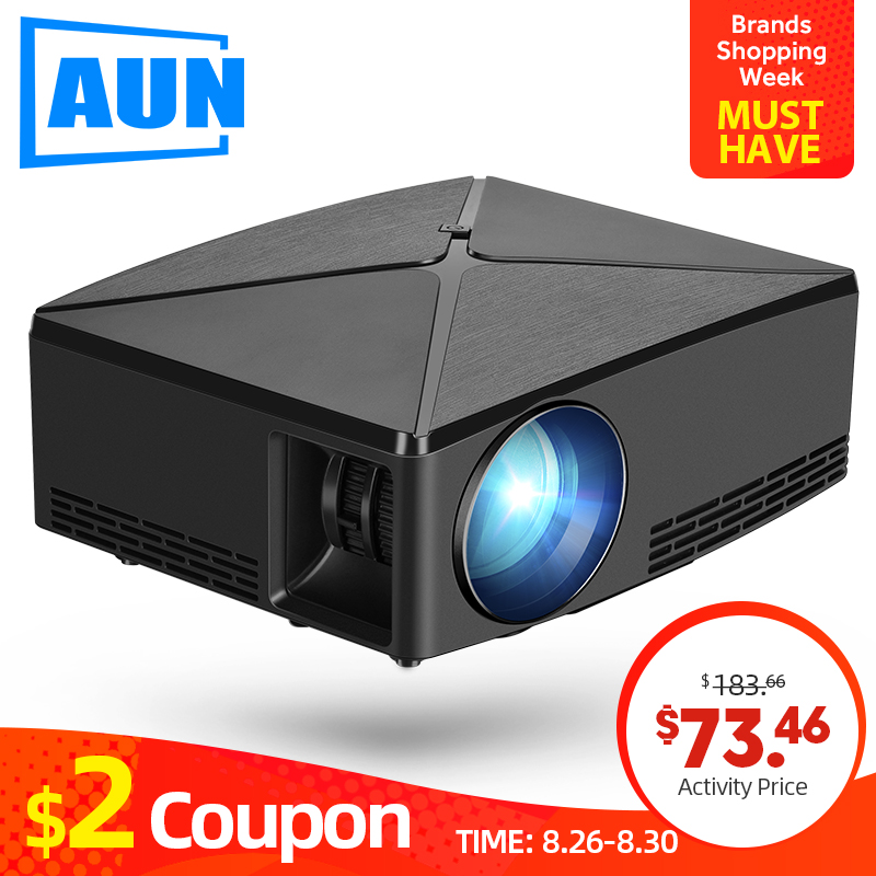 AUN מיני מקרן C80UP, 1280x720P רזולוציה, אנדרואיד WIFI Proyector, LED נייד 3D Beamer עבור 4K בית קולנוע, אופציונלי C80