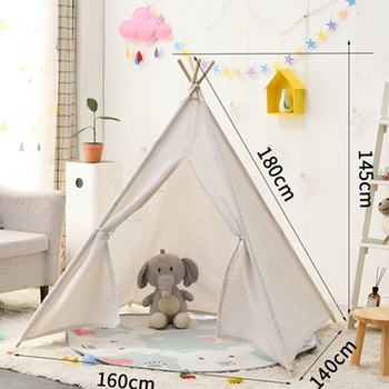 Przenośne namioty dziecięce 1 8M Tipi domek zabaw dla dzieci bawełniane płótno indyjski namiot zabawkowy Wigwam zabawka dziecięca Tipi Room Decoration tanie i dobre opinie Tkaniny CN (pochodzenie) no fire 0-12 miesięcy 13-24 miesięcy 2-4 lat 5-7 lat 8 lat hghgf125jyccs Składany 1 8M Portable