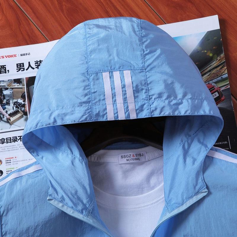 Men Jacket Spring summer Sun Protection Clothing Thin Slim Long Sleeve baseball Jackets Zipper Hooded Jacket