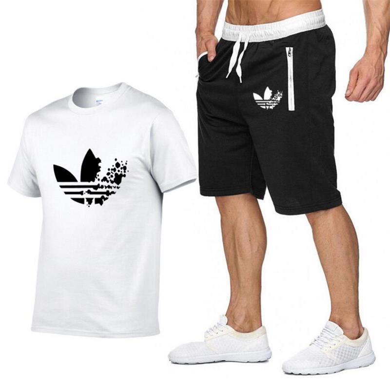 2019 Fashion New Men's Tracksuit Two Piece Shorts+T-shirts Summer Sweatshirts Suit Male Chandal Hombre Jogging Suit