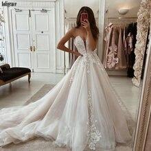 Boho Свадебные платья 2020 глубокий v образный вырез на тонких