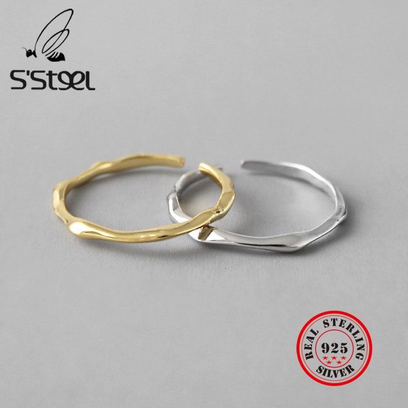Irregular 925 Sterling Silver Korea Rings Female Resizable Handmade Open Ringen Bijoux Argent 925 Massif Pour Femme Fine Jewelry