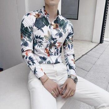 2019 Brand Streetwear Hawaiian Shirt Men Long Sleeve Slim Fit Mens Shirts Camisa Social Masculina Floral Print Casual