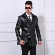 Business Casual Men Genuine Leather Jackets Slim Elegant Turn-Down Collar Real L