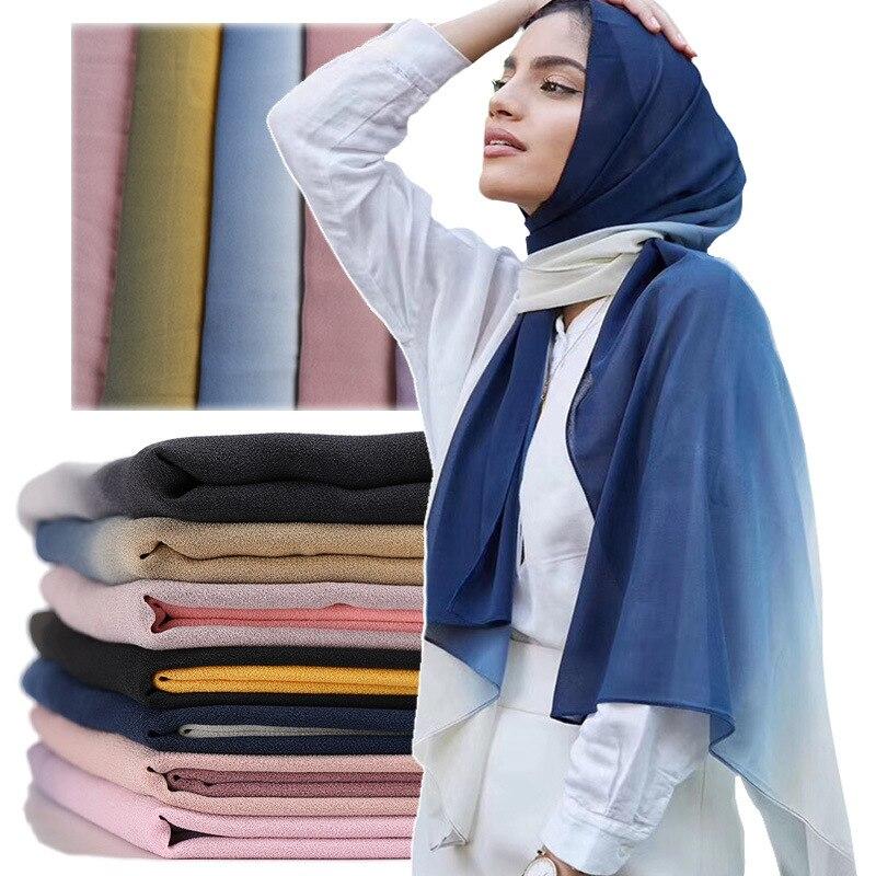 Ombre Chiffon Hijab Scarf Shawls Gradient Muslim Scarves Wrap Shade Headband Scarves/scarf 180*70cm