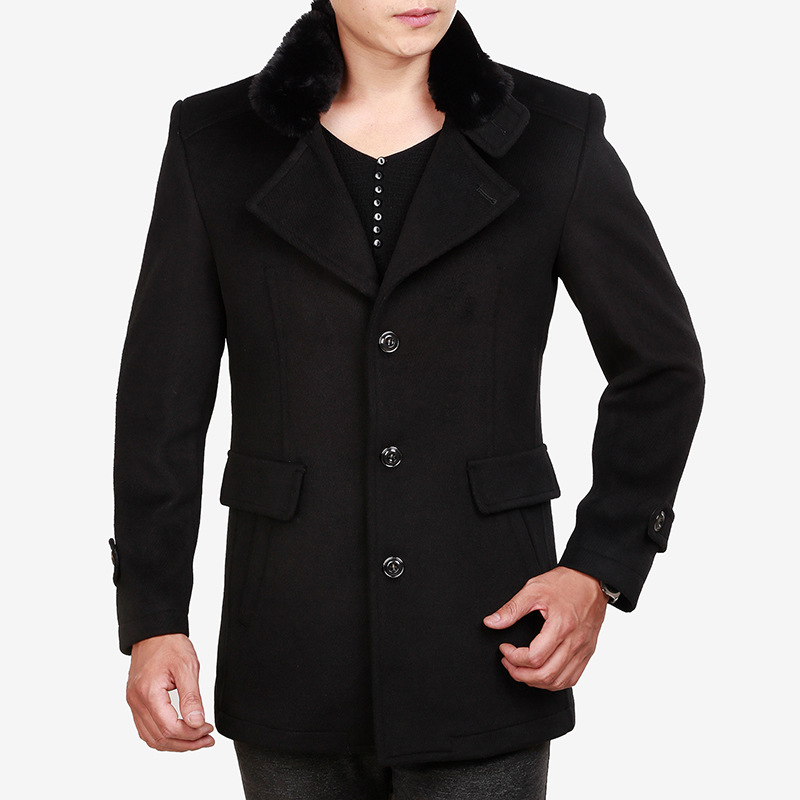 Fashion Faux Fur Collar Men Woolen Coat Winter Thick Warm Black Wool Blend Coat Casual Oversized Long Overcoat Male Top Xxxl Hot