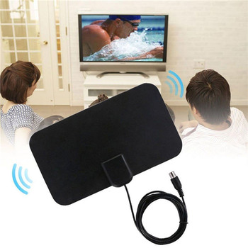 HOT 50 Mile Range Ultra-thin Digital Indoor Antena TV HDTV Antenna High Signal Capture Cable Signal Amplifie Antenna image