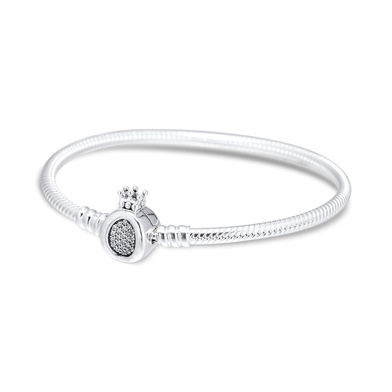 The Kiss Heart Pave CZ Snake Chain 925 Sterling Silver Charm Bracelet