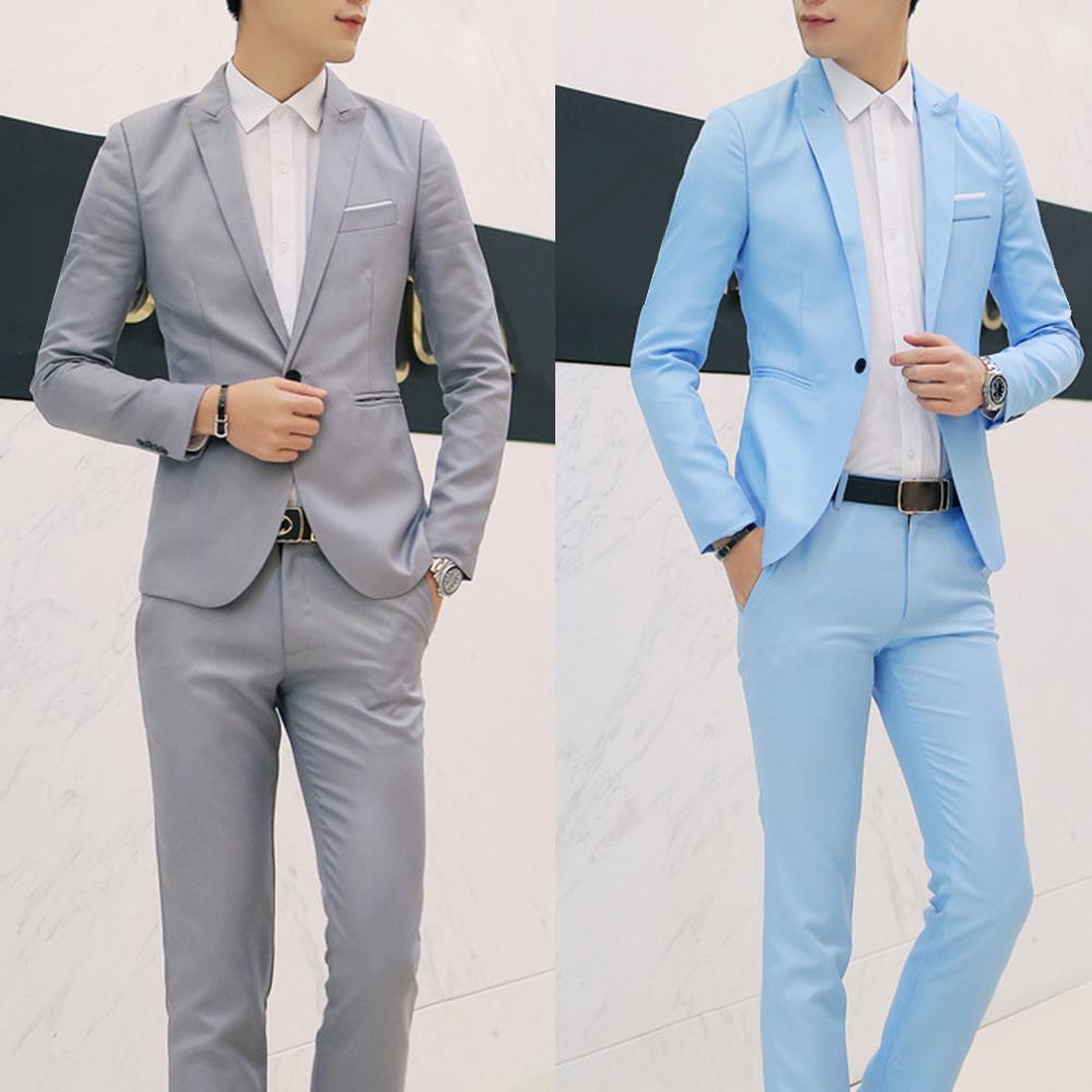 2019 Hot Sale 2 Pieces Of Fashion Men's Solid Color Lapel Button Long-sleeved Slim Comfortable Suit Jacket Suit Pants