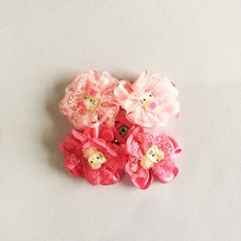 2 Pcs/lot New Two Colors Ribbon Lace Flowers Hairpins Girls Hello Kitty Hair Accessories Barrette Headdress Lovely Clip