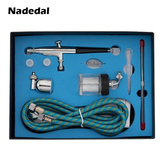 Распылитель краски Nasedal airbrush, Пистолет двойного действия со шлангом, 3 наконечника, 2 чашки для художественной живописи, тату, маникюрный спрей, модель ногтей