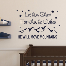 Bedroom Poster Wall Sticker For Kids Room Mural He Will Move Mountains Quote Decoration Art Tattoo Home Decor  AY1973