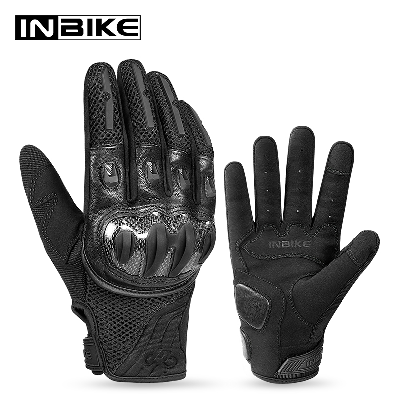 INBIKE Carbon Fiber+TPR Protective Shell Motorcycle Gloves 2020 Men Genuine Leather Racing Motorbike Motocross Protective Gloves