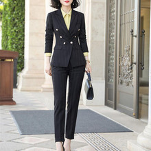 Office Ladies Wear Fashion Elegant Double Breasted Striped Blazer Pants Suits