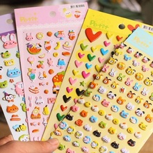 30packs/lot Cartoon Kawaii 3D Animal Bubble Sticker Four Design Stickers For The Diary And Or Children Kids Toy Gifts