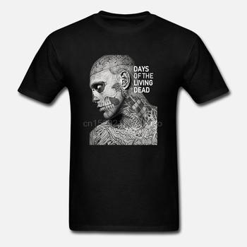 Side Of Rick Genest Zombie Boy tatuaje moda modelo U y cuello en V gris oscuro negro camiseta