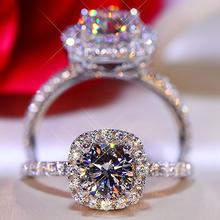 Huitan luxo forma quadrada anéis de casamento feminino brilhante zircônia cúbica elegante casamento nupcial anel de noivado jóias venda quente