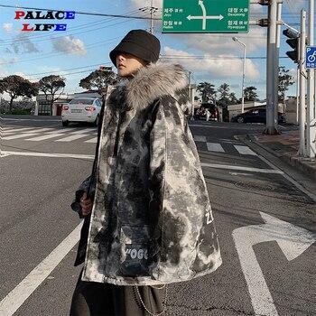 Men Streetwear Winter Bomber Camo jacket Hooded Winter Warm Thick Jackets Outerwear Hip Hop Fur Collar Streetwear Oversize