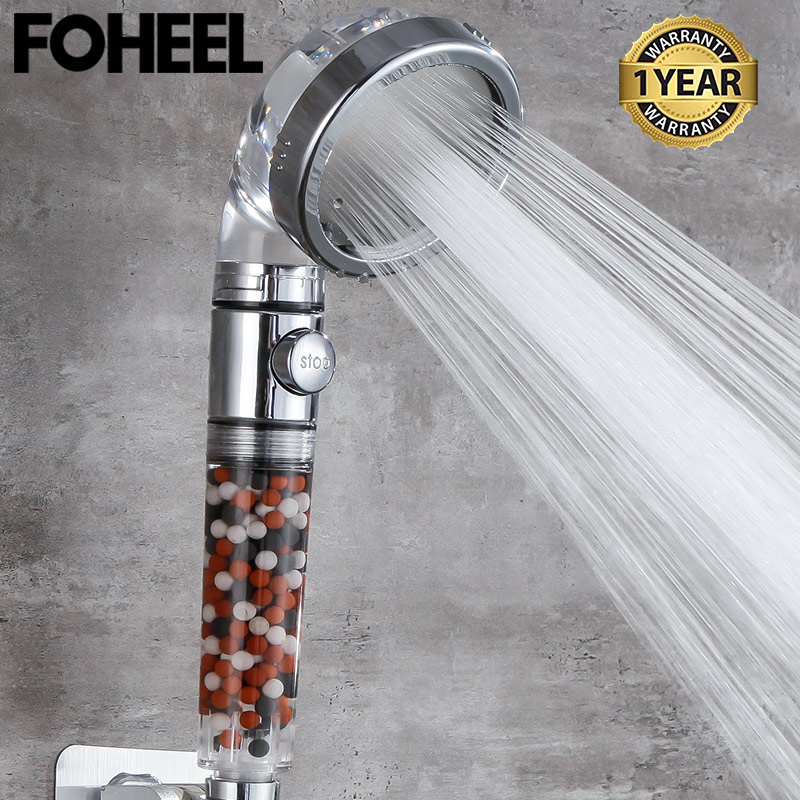 FOHEEL หัวฝักบัวฝักบัวปรับ 3 โหมดฝักบัวอาบน้ำแรงดันสูงน้ำหนึ่งปุ่มหยุดน้ำอาบน้ำหัว