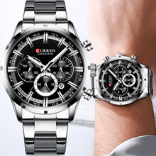 CURREN Reloj de pulsera deportivo para hombre, cronógrafo, militar, acero inoxidable, informal, masculino, 8355