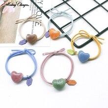 New Simple Hair Bands Hair Rope For Girls Headband Hair Scrunchie Rubber Hair Ring Heart-shaped Elastic  Hair Tie  Accessories