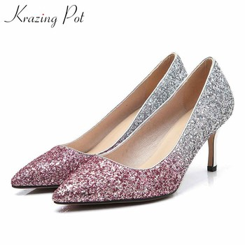 Krazing pot Princess style gorgeous shiny pointed toe stiletto high heels women slip on elegant sweet party wedding pumps L18
