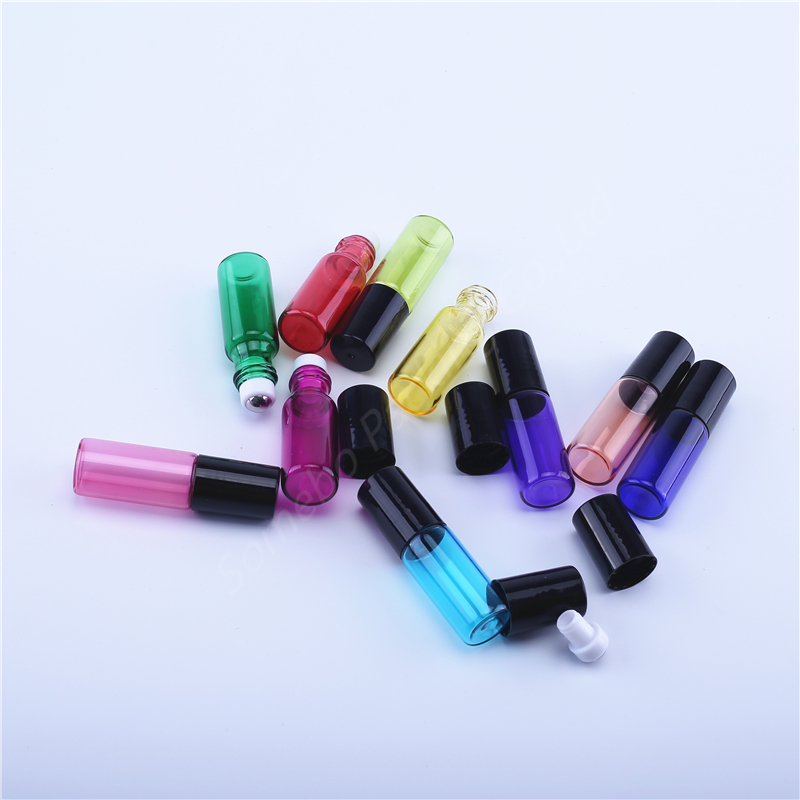Image 5 - 10pcs/lot 5 ml Candy colored Glass Oil Bottles with Roller Ball Empty Perfume Essential Oil Roll on BottleRefillable Bottles   -