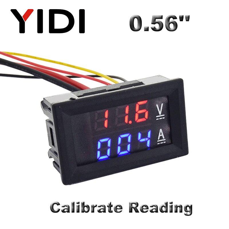 0.56'' Digital Voltmeter Ammeter DC 0-100V AC60-500V 1A 10A 50A 100A Red Blue LED Display Voltage Current Meters Tester Detector