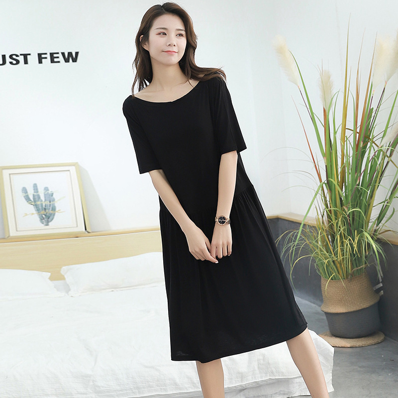 Nightgown Tracksuit Women's Summer New Style Modal Pajamas Large Size-Outer Wear Pleated Skirt Sweet Korean-style Dress