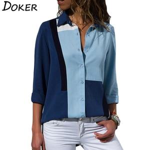 2020 New Fashion Print Women Blouses Long Sleeve Turn-down Collar Chiffon Blouse Shirt Casual Tops Plus Size Elegant Work Shirt(China)