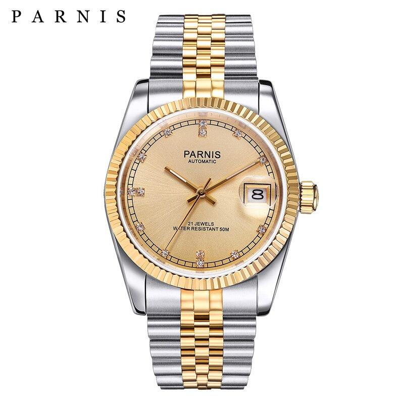 Parnis автоматические механические часы для мужчин и женщин браслет с календарем из нержавеющей стали Miyota 821A Move для мужчин t мужские часы orologio