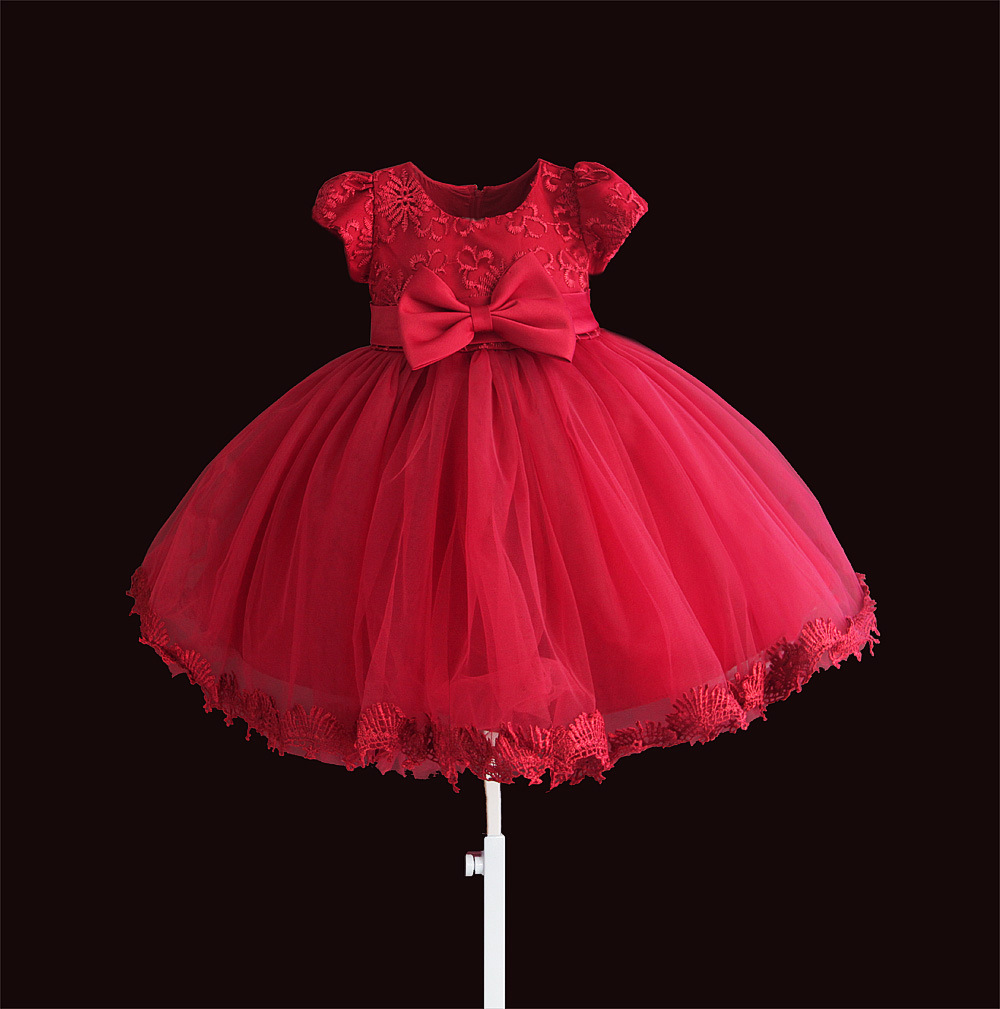 Zoeflower New Style Embroidery Lace Formal Dress Baby Baptism A Year Of Age Pure Cotton Princess Dress Short-sleeve Dress Red
