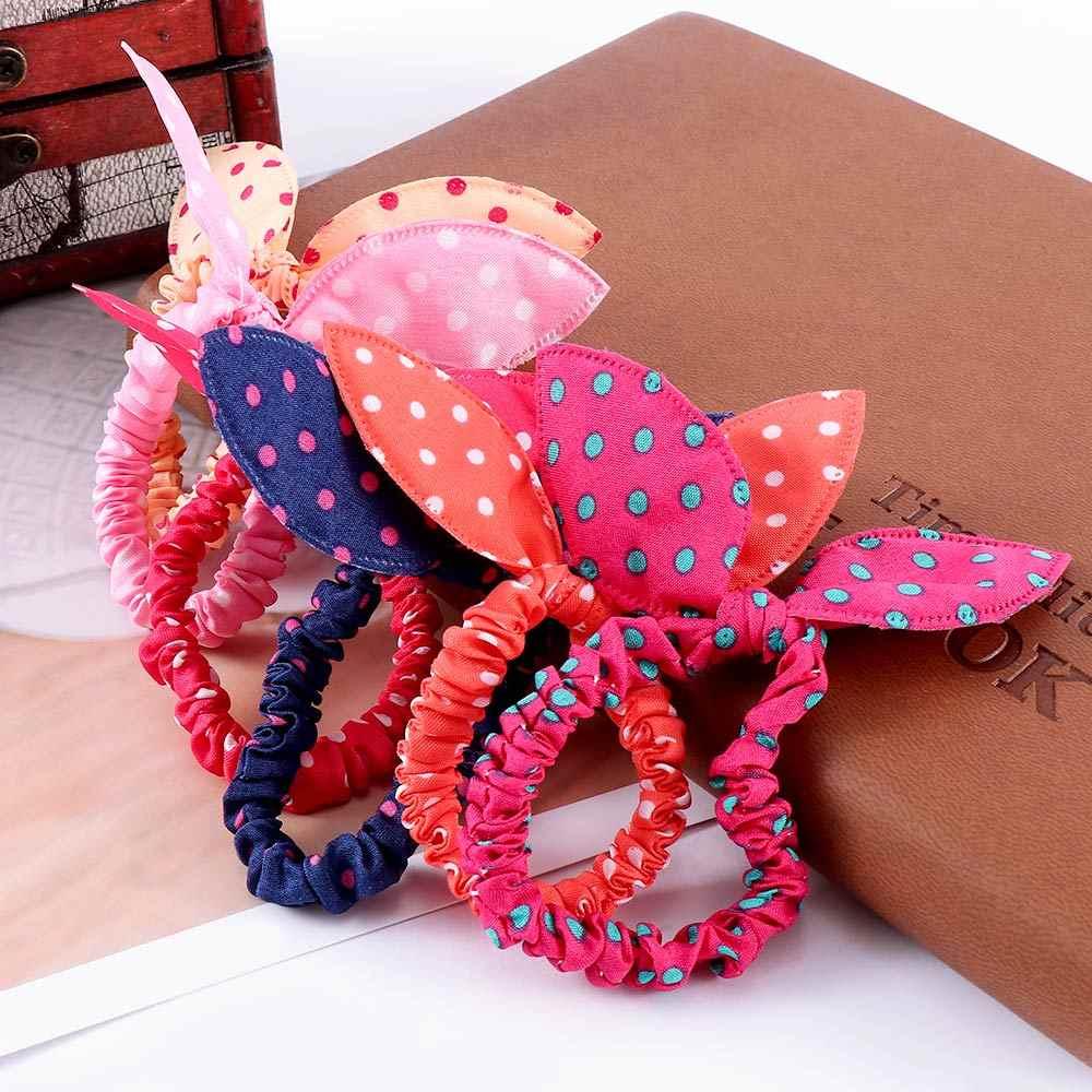 10 sztuk/partia Gilrs śliczne uszy królika kwiat elastyczne opaski do włosów kucyk posiadacze gumki Dot włosów liny nakrycia głowy...