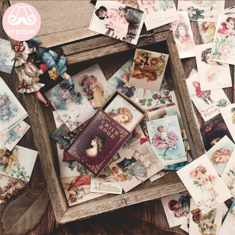 Mr. Giấy 100 Cái/hộp Vintage Câu Chuyện Giấy Kraft Thêu Sò/Làm Thiệp/Journaling Dự Án DIY Nhật Ký Trang Trí Lomo Thẻ