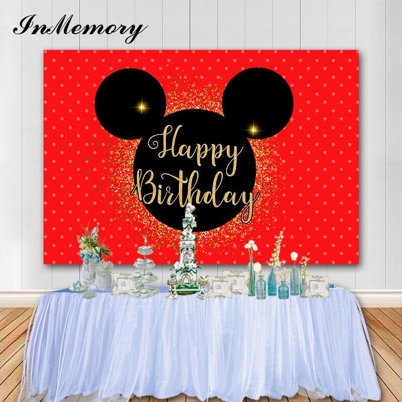 InMemory Золотой блестящий мышь фон для фотосъемки на день рождения красный мультяшный День рождения украшение для вечеринки на заказ детский ...
