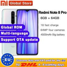 "Globale ROM Original Xiaomi Redmi Hinweis 8 pro 6GB 64GB MTK Helio G90T Smartphone 6,53 ""64MP Quad hinten Kamera 4500mAh Batterie"