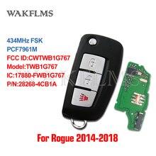 3btn Flip Remoto fob Chave Do Carro chip de 434MHz Para Nissan Rogue 2014 com PCF7961M CWTWB1G767 TWB1G767 28268 4CB1A