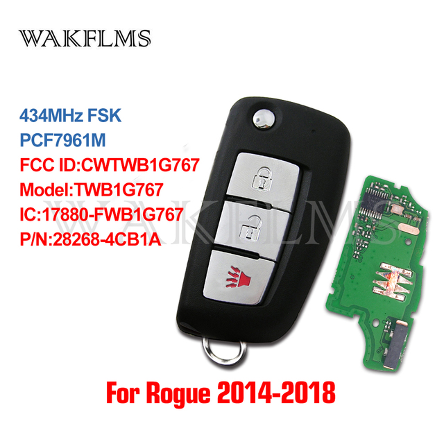 3btn Remote Flip Car Key fob 434MHz For Nissan Rogue 2014  with PCF7961M chip CWTWB1G767 TWB1G767 28268 4CB1A