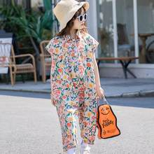 Teenage Girls Jumpsuit 2020 Summer New Floral Girls Overalls Jumpsuit For Girls Harem Pants Korean Palysuit Children's Wear 8 12(China)